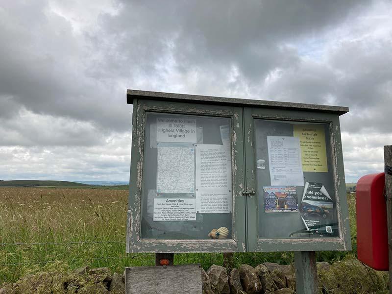 Notice board at High spot