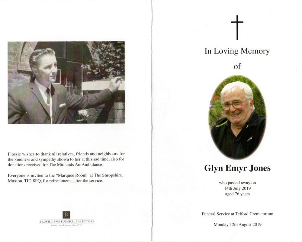 Order of service front and back pages